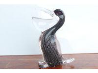 Unusual Vintage Handblown Glass Pelican Paperweight Bird 15cm High Paper Weight Murano Black Glass