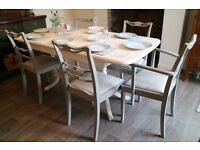 Shabby Chic Extending Dining Table and 5 Chairs, French Country Style Table