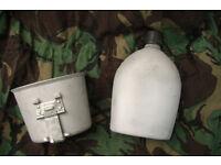 Vintage Norwegian Canteen / Water bottle Mug Set
