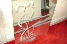 LOVELY ETCHED MIRROR IN TWO PIECES