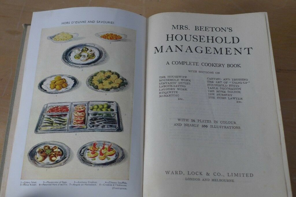 Vintage copy of Mrs Beeton's Household Management. Good, clean copy for age with no loose pages