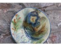 Vintage Ceramic Decorative Plate Fish / Sea Monster Design Puigdemont Pottery Spain Display Plate