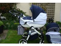 Evado Navy & White Pram/Pushchair