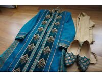 Green Mens Traditional Indian suit with matching shoes