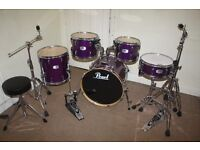 """Pearl EX Series Purple 5 Piece Complete Drum Kit (20"""" Bass) + Stands + Stool + Cymbals"""