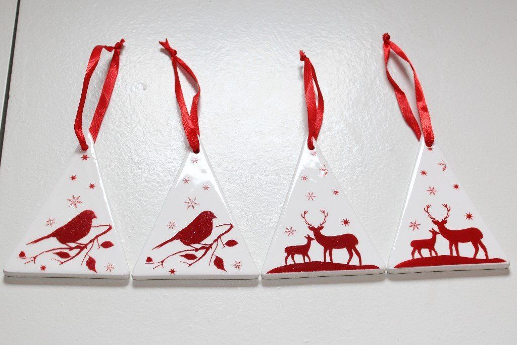 Four Ceramic Christmas Tree Decorations Of Robins Stags White Red In Hull East Yorkshire Gumtree