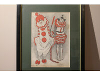 Unusual Vintage Framed Clown Print Joe Grimaldi and Franny Price Circus C.1930 Harlequin Art Picture