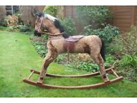 VINTAGE STRAW FILLED ROCKING HORSE AND DEANS PUSHALONG DOG