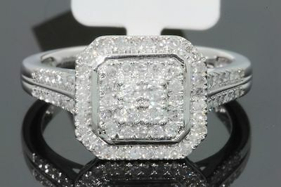 10K SOLID WHITE GOLD .61 CARAT REAL DIAMOND WOMEN BRIDAL WEDDING ENGAGEMENT RING
