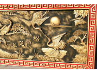Vintage Chinese 3d Wood Carving Picture from a London Restaurant