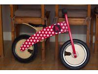 Kiddimoto Kurve Red/White Dotty Balance Bike + helmet - USED