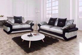 best quality crush velvet dino left right heand corner & 3 + 2 seater sofa set in black silver