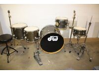 PDP Pacific (DW) MX Series Grey Satin 5 Piece Full Drum Kit (24in Bass) + stands + stool cymbal set
