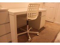 IKEA MALM Desk White and IKEA SKÅLBERG/SPORREN Swivel Chair White
