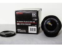 Sigma 18-50mm - Nikon Fit