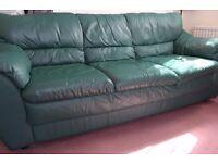 Leather three seater sofa in dark green