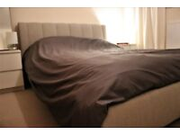 Time Living Braunston Upholstered Bed Frame - Sand & Silentnight Miracoil 3 Rio Luxury Mattress
