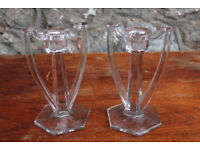 2 Clear Glass Art Deco Candlestick Candle Holders Moulded Glass Vintage Antique 1930's