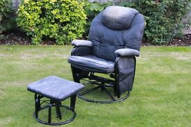 rocking 360 swivel & reclining arm chair and matching rocking foot stool