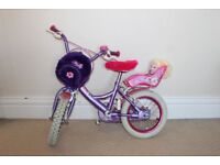 Raleigh Molly Girls Bike Age 4 - 6 Good Condition incl. doll, rucksack & stabilisers