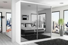 NEW DESING BEST STYLISH 2 DOOR SLIDING BEDROOM CHICAGO WARDROBE WITH MULTI COLOURS FAST DELIVERY