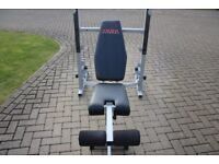 York B540 olympic weights bench / squat rack with leg extension - heavy duty home gym bench