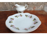 Vintage Royal Tara Sandwich Plate and Milk Jug / Creamer Irish Fruit and Flower Design + Gilded