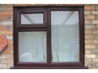 Double Glazed UPVC window x 2 Rosewood/White inside