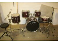 Sonor Force 2001 Series 5 Piece Drum Kit / Mapex M Snare (22in Bass) Hardware + Cymbal Set