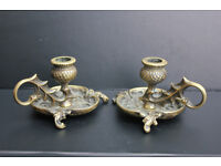 Pair of Vintage Solid Brass Candle Holders Thistle Design Ornate Scottish Unusual Candle Stick