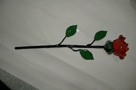 VALENTINES / WEDDING , EVERLASTING ! STEEL ROSE HAND MADE AND PAINTED (WROUGHT IRON)