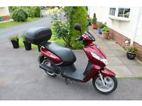 Peugeot Kisbee 50cc Derestricted. Registered Oct 2015:EXTRAS NEW HELMET, NEW 40LTR BACKBOX