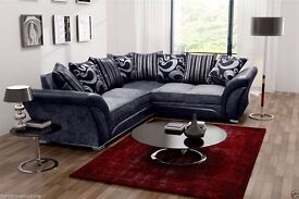 SHANNON CORNER OR 3+2 SEATER BLACK/GREY CHENILLE FABRIC SOFA| 1 YEAR WARRANTY | UK EXPRESS DELIVERY