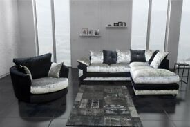 CHEAPEST PRICE OFFERED ** BRAND NEW DINO CRUSH VELVET CORNER OR 3 AND 2 SOFA SET IN BLACK/SILVER