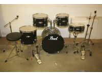 Pearl Target Black 5 Piece Full Drum Kit (18in Bass) Including All Hardware + Sabian Cymbal Set