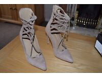 Missguided Ladies Shoes High Heels party New Size 5 Nude Faux Suede