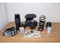 Canon T70 slr with lenses etc