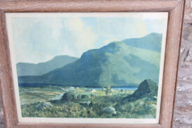 "Large Framed Vintage Print - 64x52cm ""Connemara ""Joyces Country"" by J. H. Craig RHA Irish"
