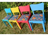4 Vintage 1970s African Wax Print Hand-painted Chalk Paint Chairs
