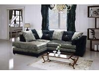 Fantastic Brand New Crushed Velvet fabric Corner Sofa in Black / Silver or Brown/Beige. Can deliver