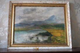Antique/Vintage Scottish landscape oil painting for restoration