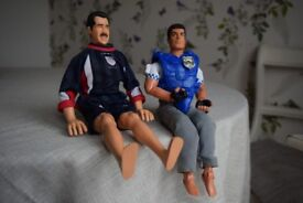 £9 (both) 2 dolls policeman and football player, 30 and 32 cm, bending limbs. Toy, toys, dolls