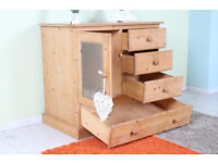 RUSTIC CUPBOARD/CHEST DRAWERS SOLID PINE PAINTING PROJECT - CAN COURIER