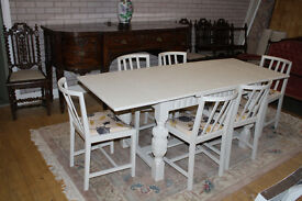 vintage shabby chic oak extending table and six chairs