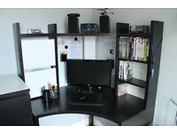 Black corner desk/workstation with fitted lights and swivel desk chair ** can Deliver **