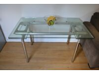 contemporary glass dining table 5ft x3ft extendable to 7ft x 3ft, 10mm thick