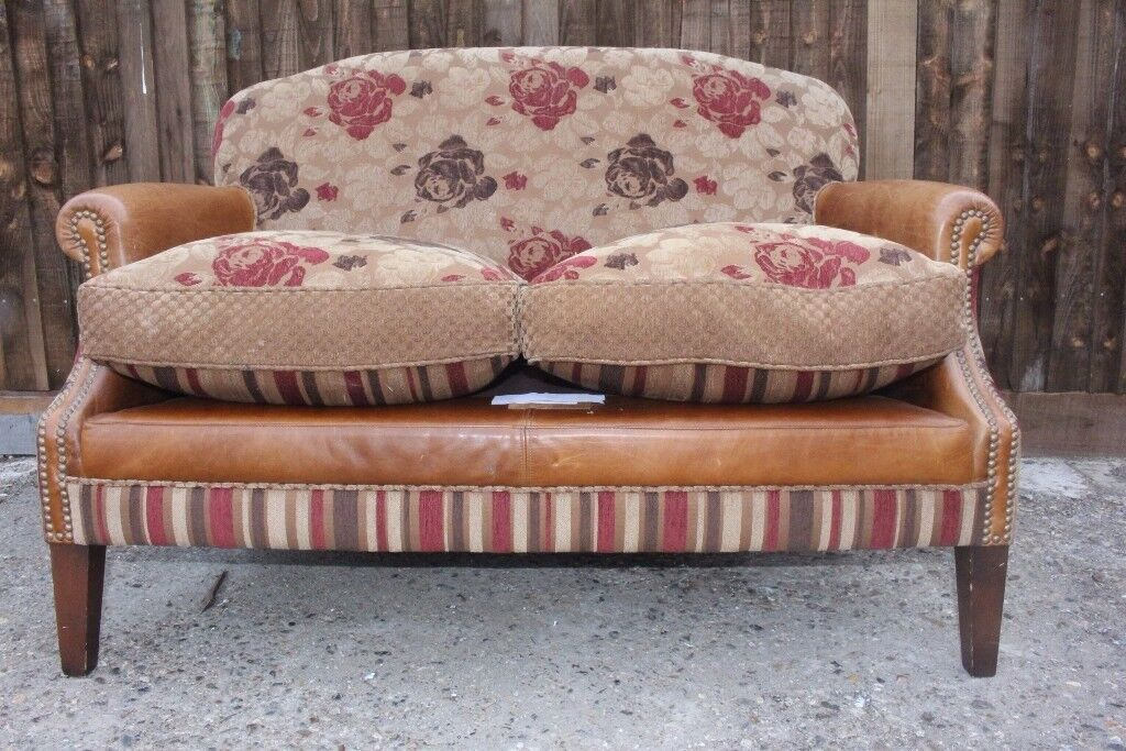 Designer TETRAD distressed leather and fabric 2 seater sofa