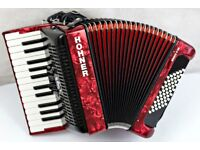 Hohner Bravo 48 Bass - Demo Model - 2 Voice Piano Accordion - Red Pearl