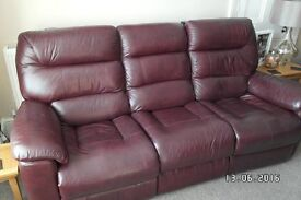 La-Z-Boy Dark Red Leather Sofa and Chair with Power Recliners