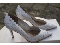 FAITH White Floral Cut White Stiletto - Size 4